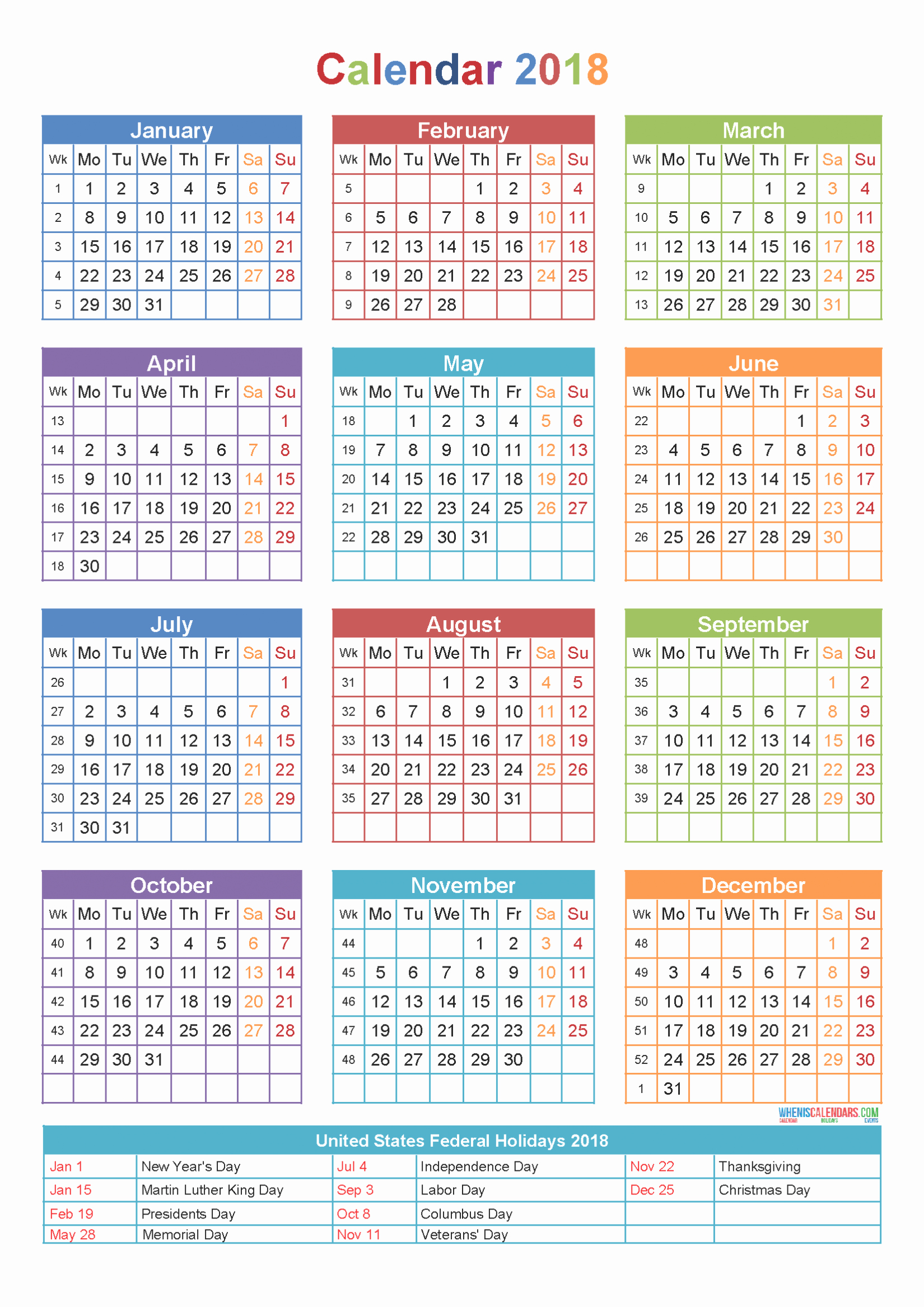 Calendar 2018 Printable with Holidays Luxury 2018 Calendar Printable with Holidays Excel Word Usa