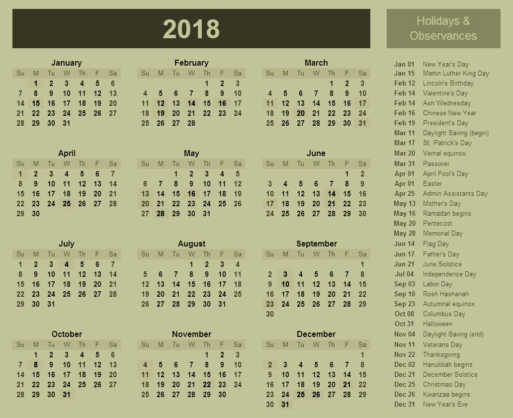 Calendar 2018 Printable with Holidays Luxury 2018 Calendar with Holidays and Observances