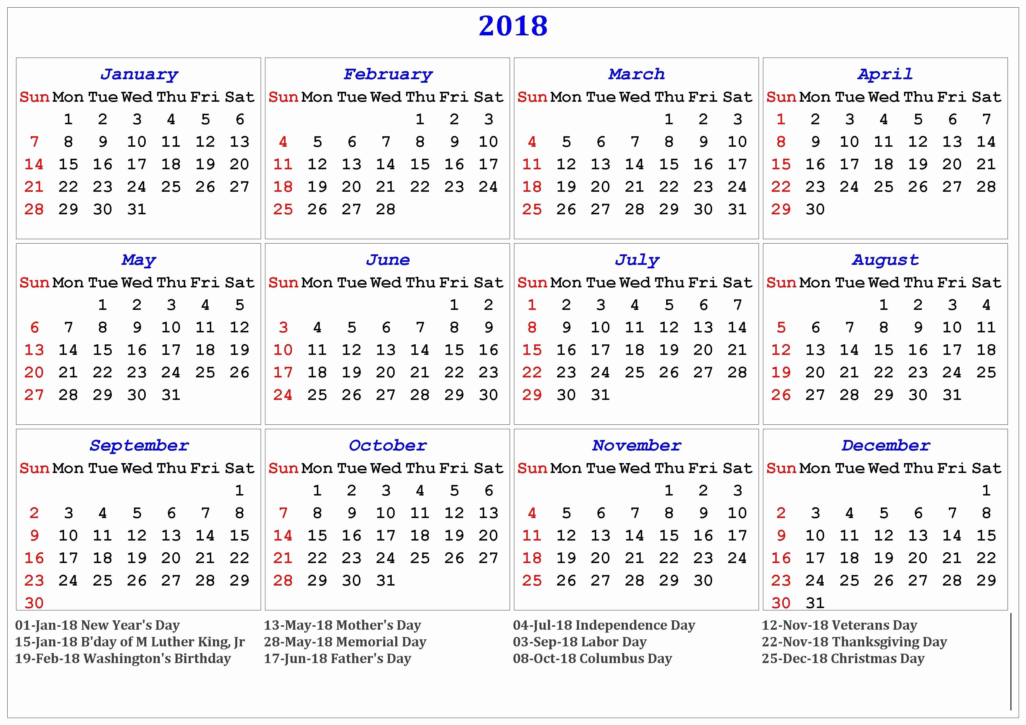Calendar 2018 Printable with Holidays Luxury 2018 Printable Calendar with Us & Uk Holidays