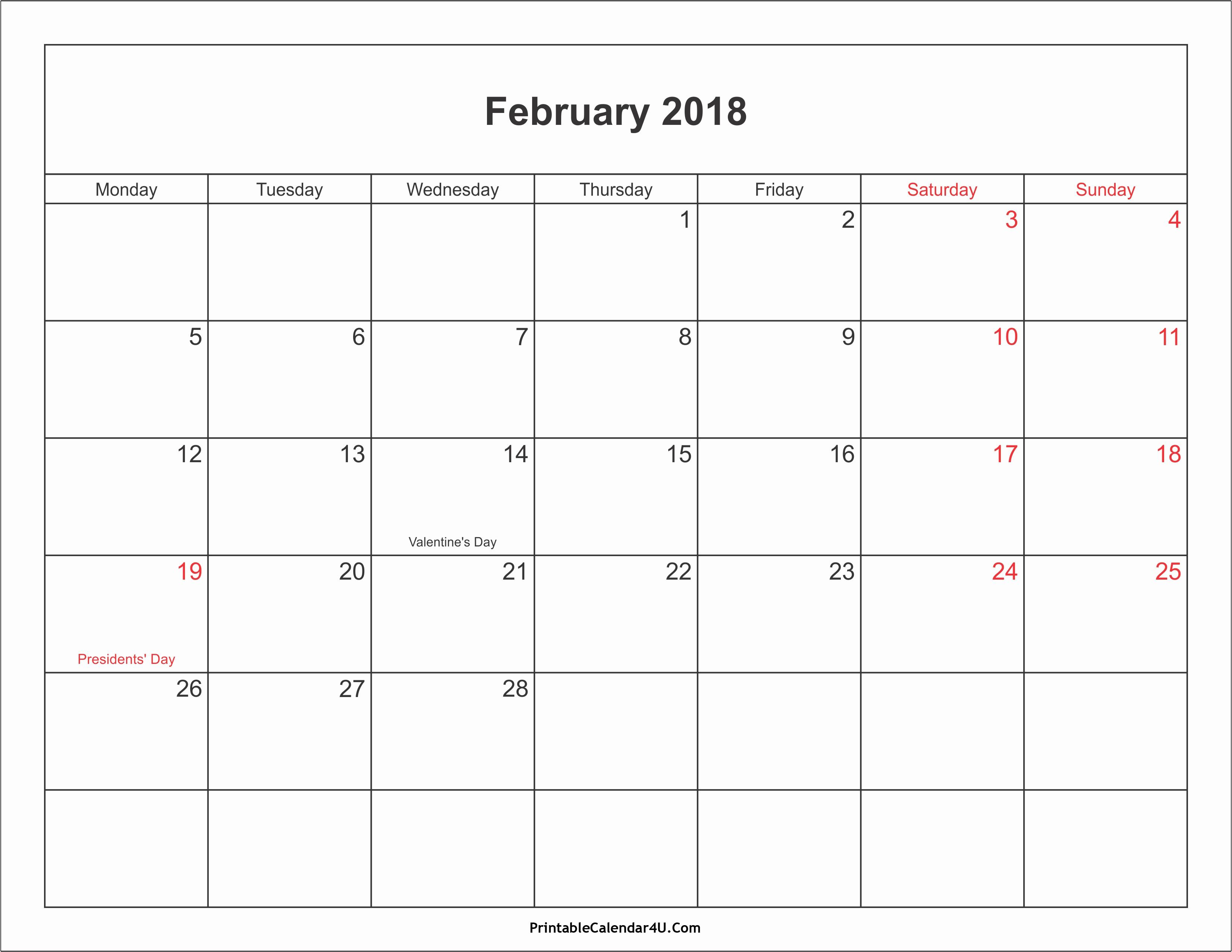 Calendar 2018 Printable with Holidays Luxury February 2018 Calendar with Holidays