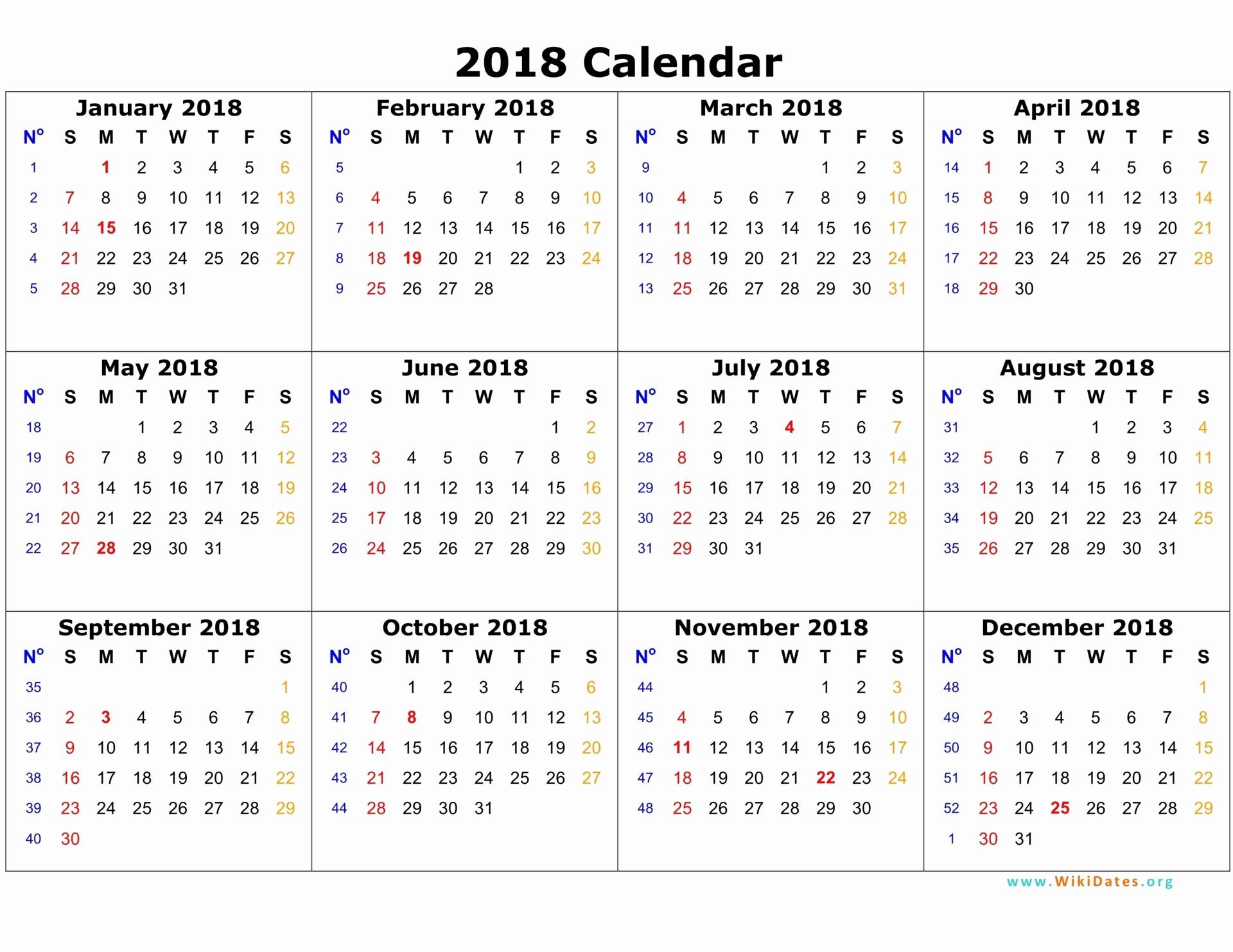 Calendar 2018 Printable with Holidays New 2018 Calendar Printable with Holidays