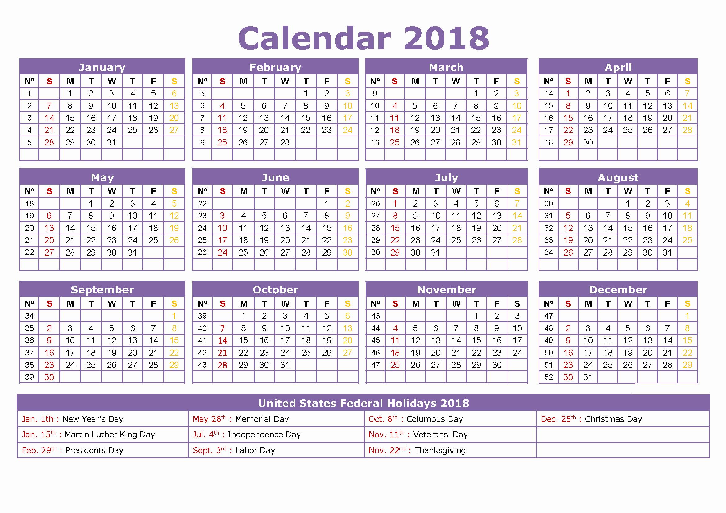 Calendar 2018 Printable with Holidays New 2018 Calendar with Holidays