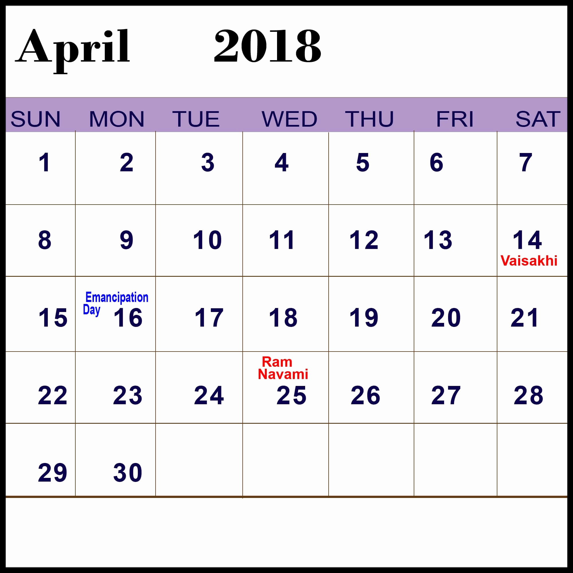 Calendar 2018 Printable with Holidays New April 2018 Calendar with Holidays In Usa Uk Canada India
