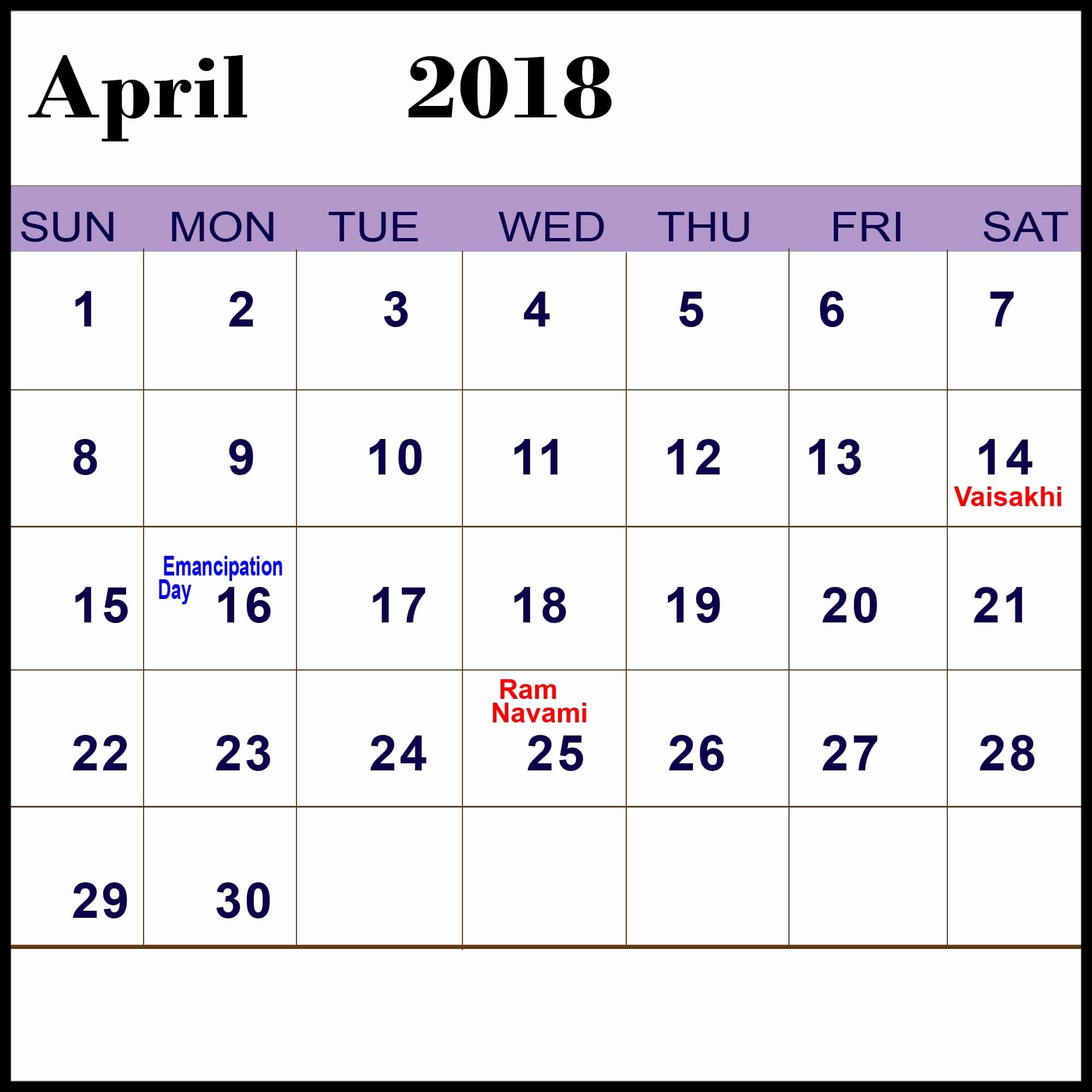 Calendar 2018 Printable with Holidays New April 2018 Calendar with Holidays In Usa Uk Canada India