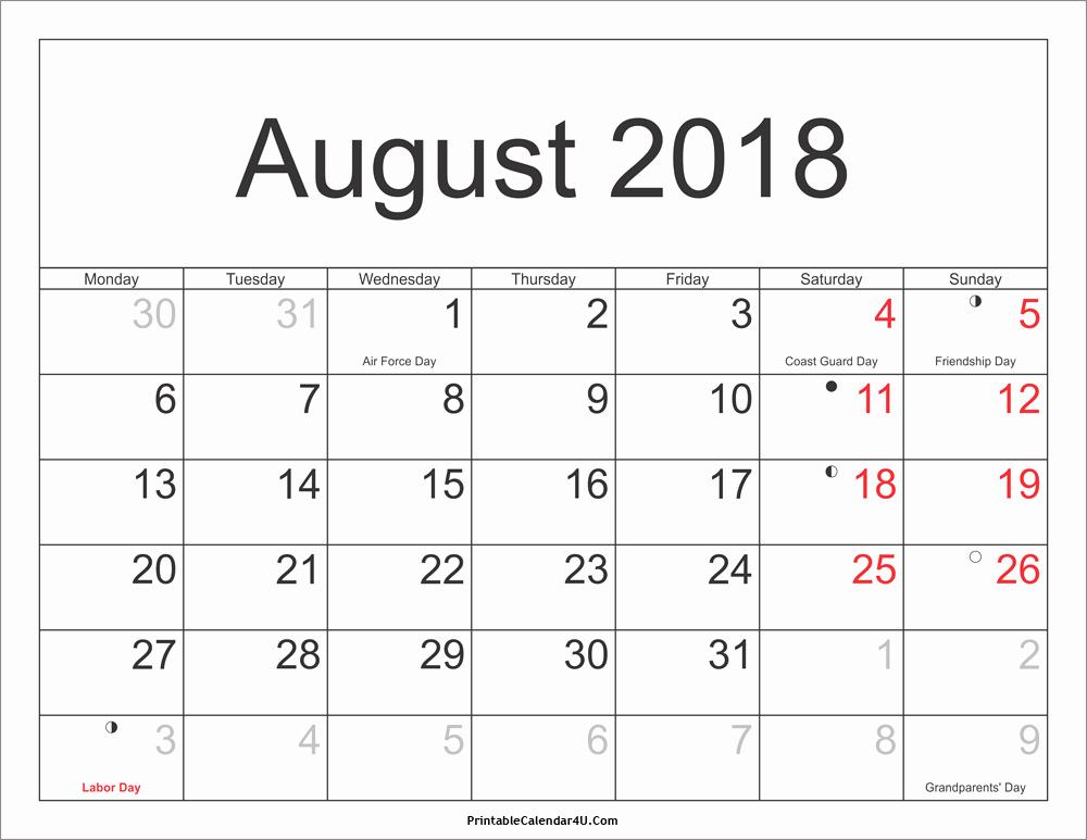 Calendar 2018 Printable with Holidays New August 2018 Calendar Printable with Holidays Pdf and Jpg