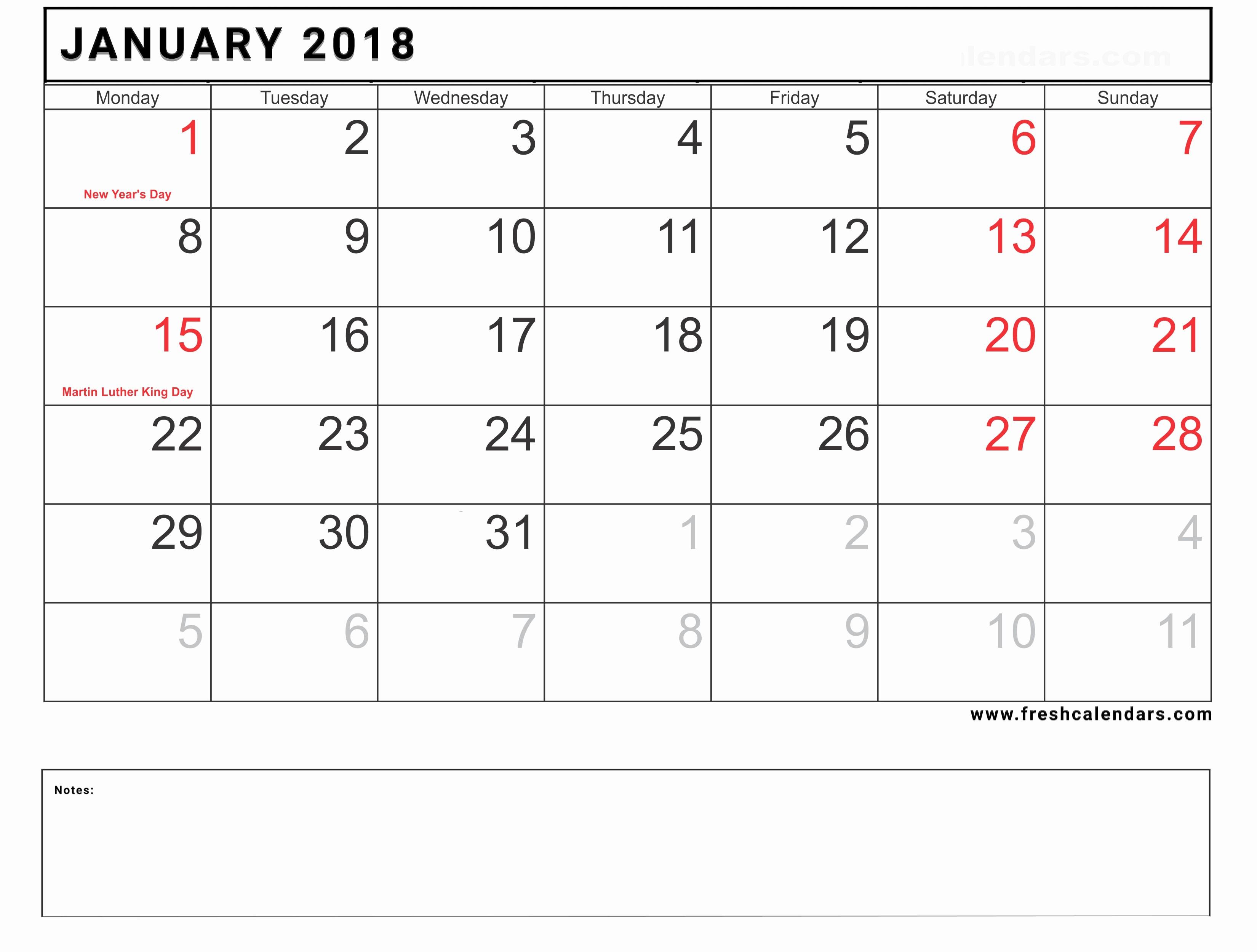 Calendar 2018 Printable with Holidays New Blank January 2018 Calendar Printable Templates