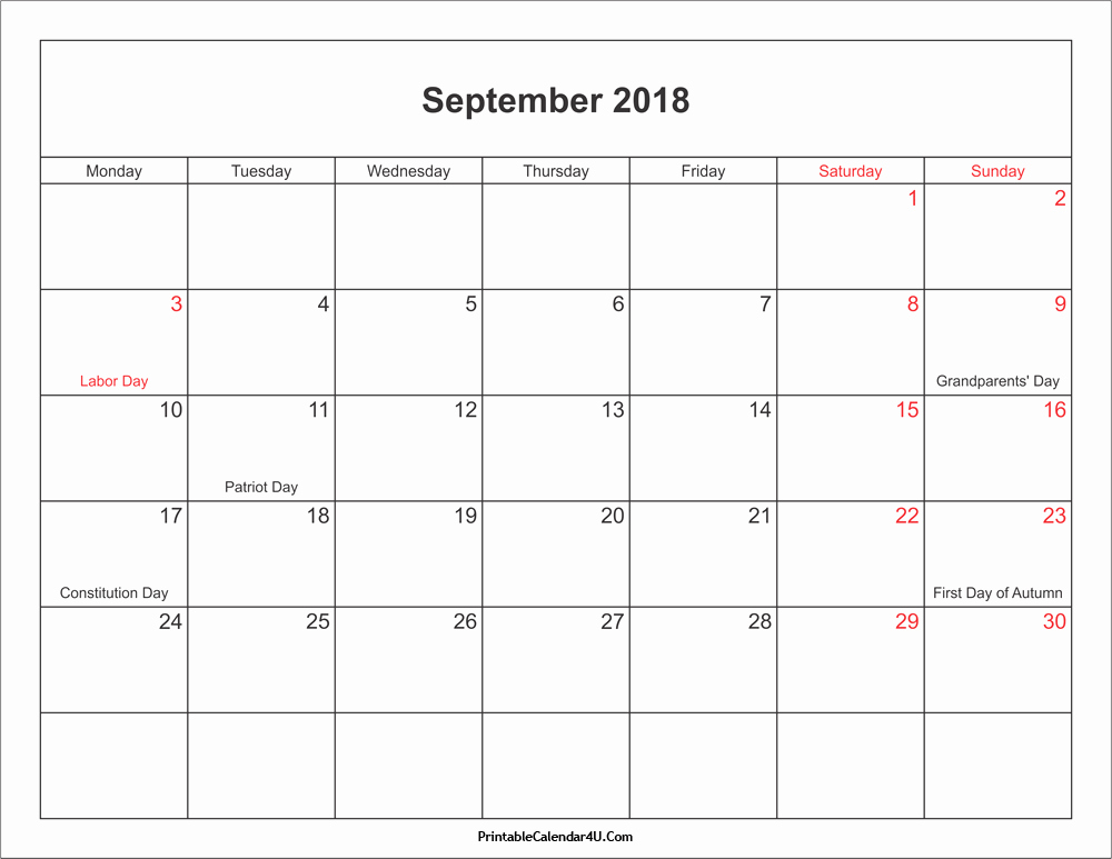 Calendar 2018 Printable with Holidays New September 2018 Calendar Printable with Holidays Pdf and Jpg