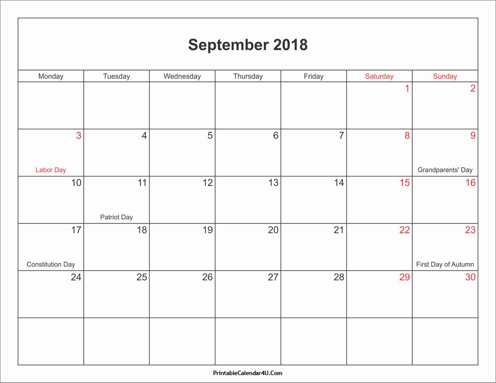 Calendar 2018 Printable with Holidays New September 2018 Calendar Printable with Holidays Pdf and Jpg