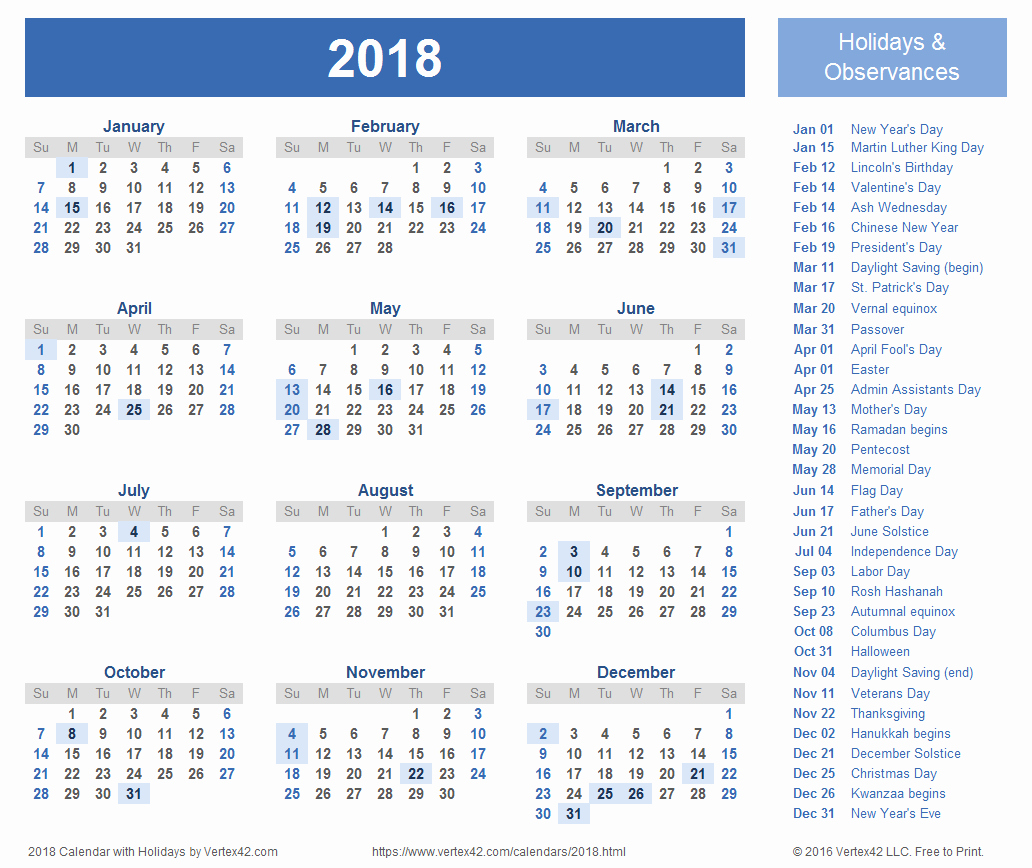 Calendar 2018 Printable with Holidays Unique 2018 Calendar Templates and Pdfs