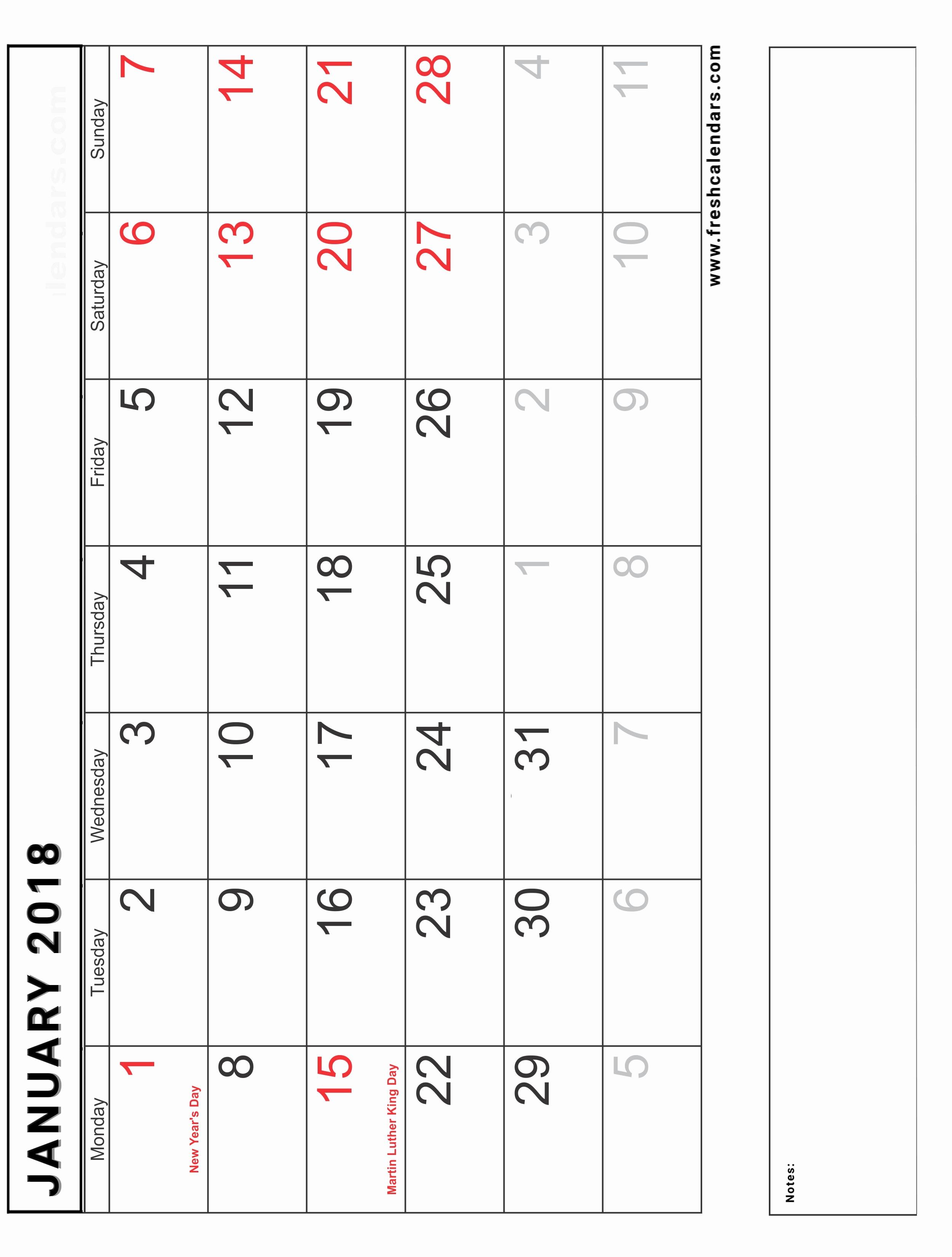 Calendar 2018 Printable with Holidays Unique Blank January 2018 Calendar Printable Templates