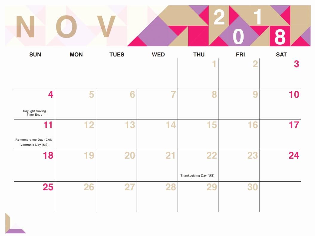 Calendar 2018 Printable with Holidays Unique November 2018 Calendar Printable with Holidays Word