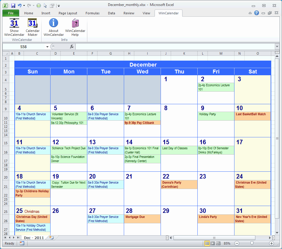 Calendar Of events Template 2015 Awesome event Calendar Excel Template
