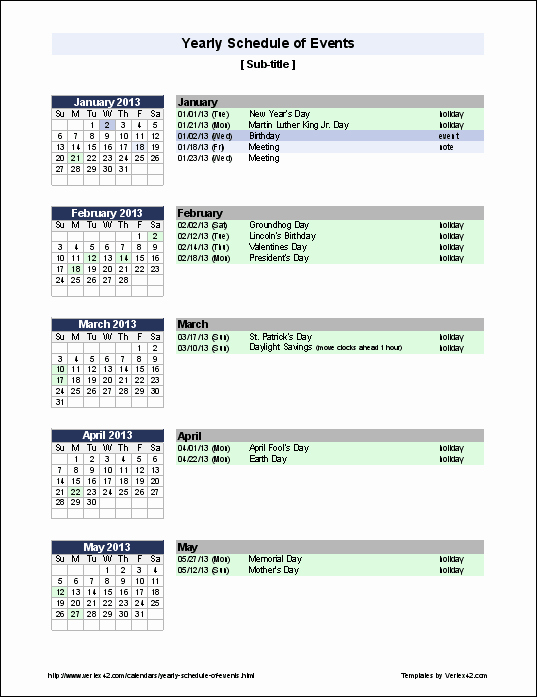 Calendar Of events Template 2015 Best Of Excel Templates