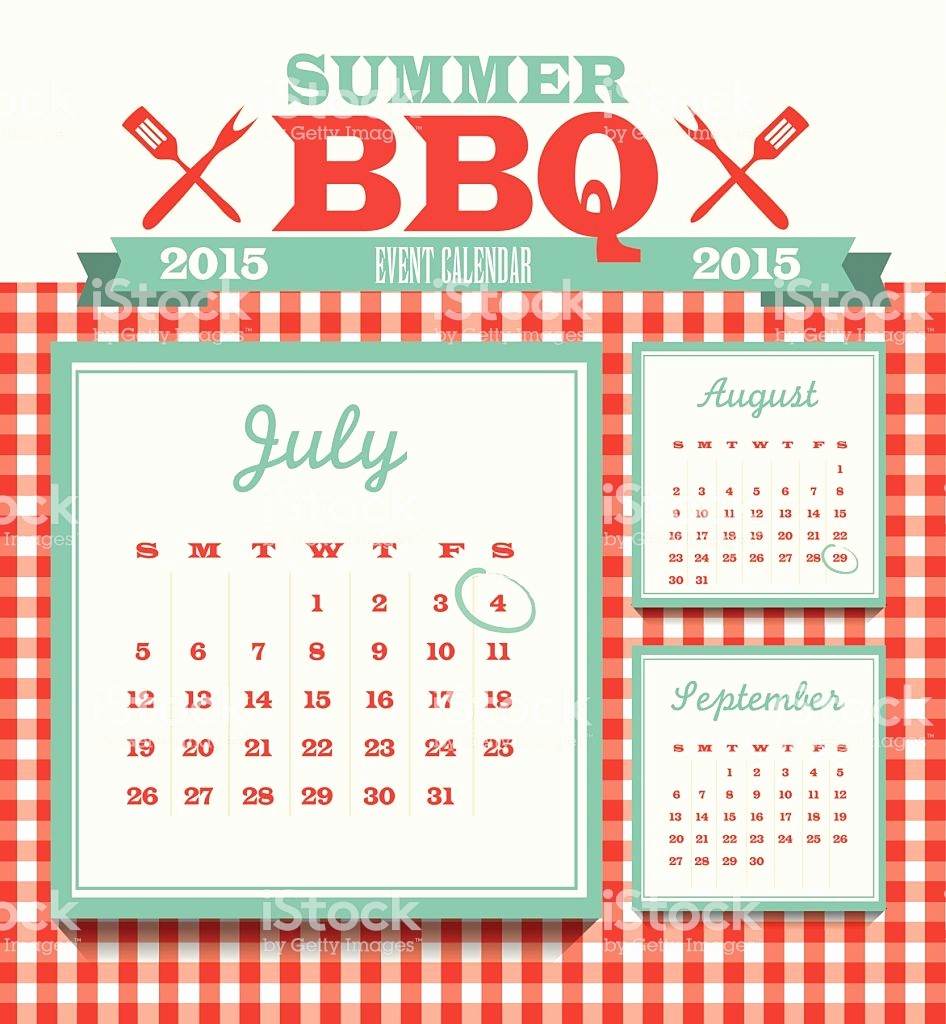 Calendar Of events Template 2015 Elegant Picnic event 2015 Calendar Design Template July Stock