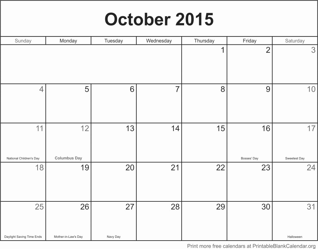Calendar Of events Template 2015 Fresh October 2015 Printable Calendar Printable Blank Calendar