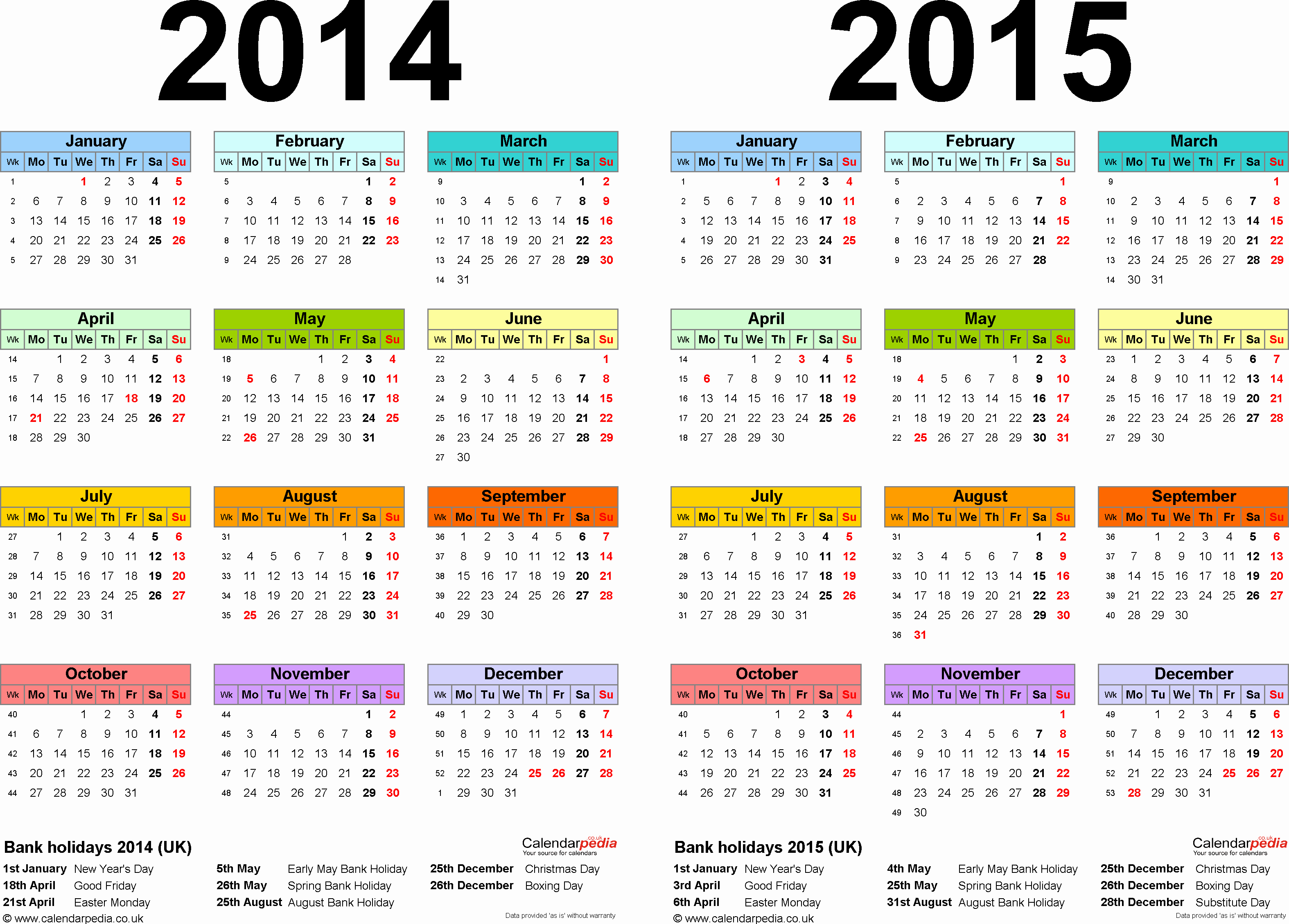 Calendar Of events Template 2015 Fresh Two Year Calendars for 2014 & 2015 Uk for Pdf