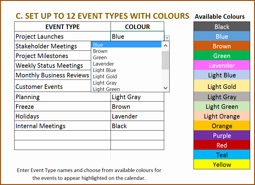Calendar Of events Template 2015 Inspirational event Calendar Excel Template