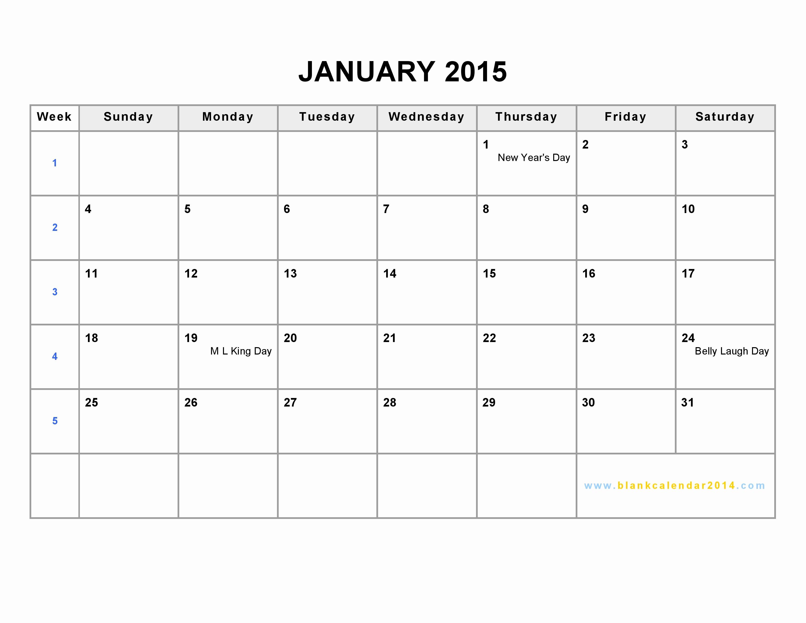Calendar Of events Template 2015 Inspirational January 2015 Calendar Template