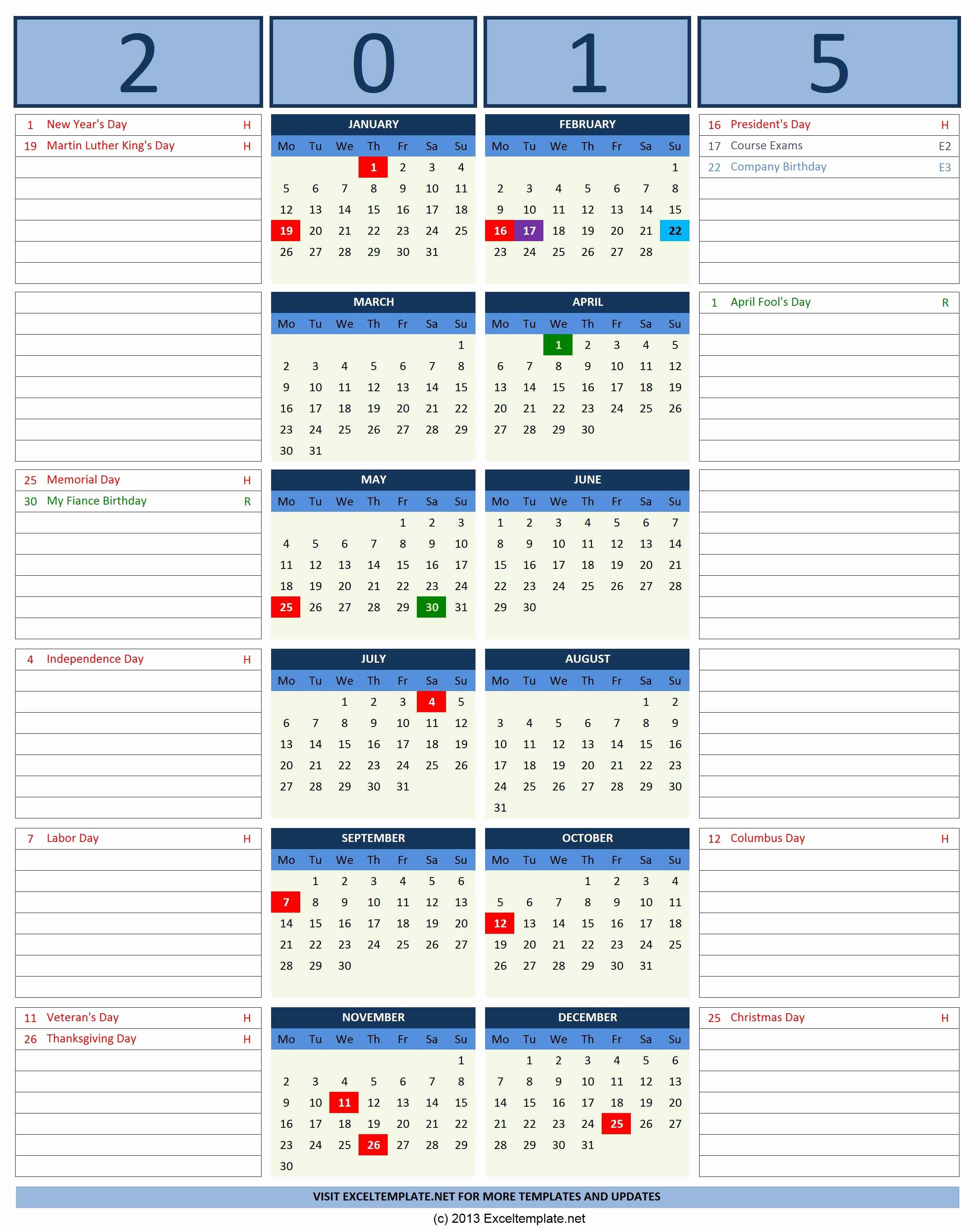 Calendar Of events Template 2015 Lovely 2016 Calendars