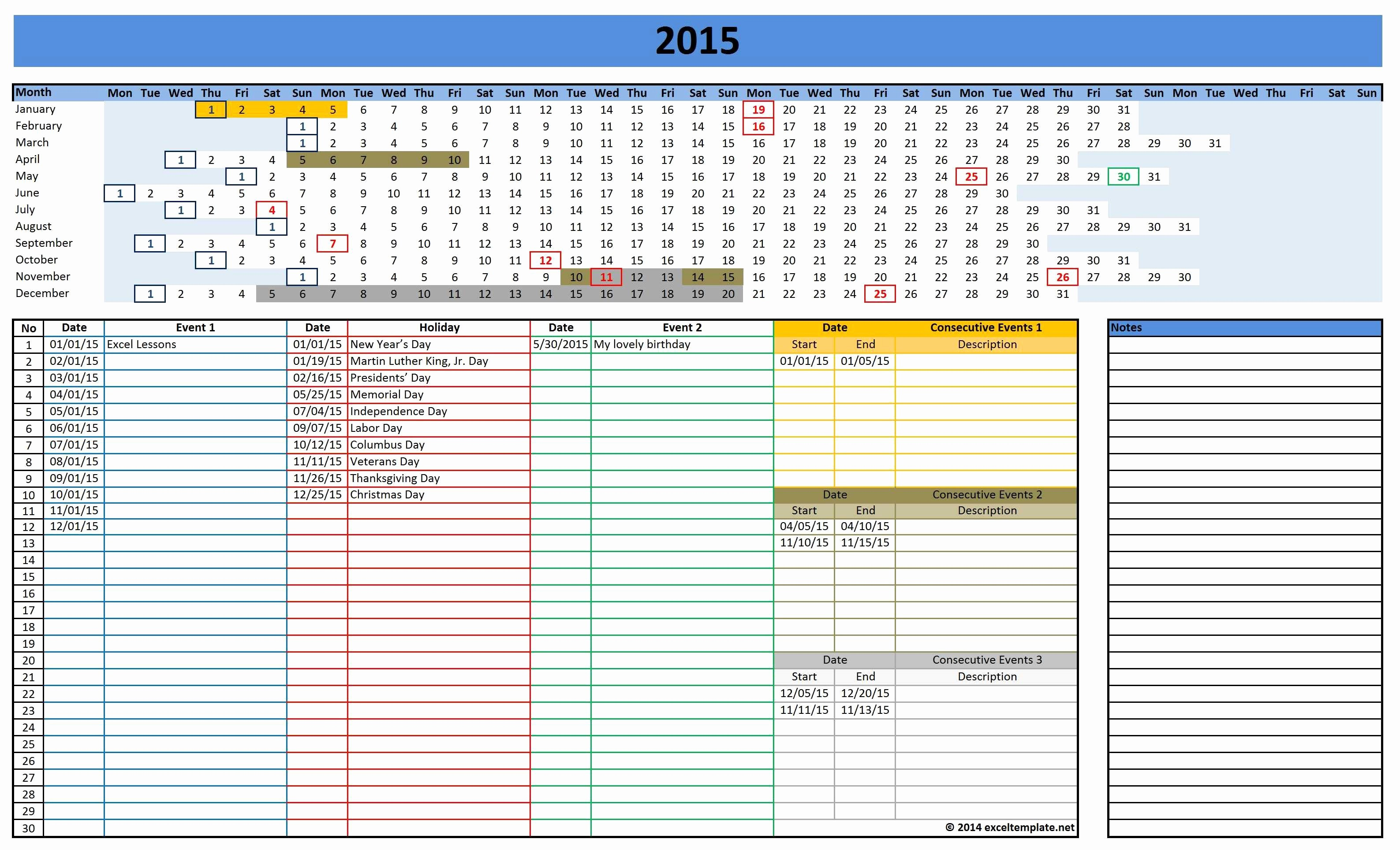 Calendar Of events Template 2015 Luxury 2016 Calendars