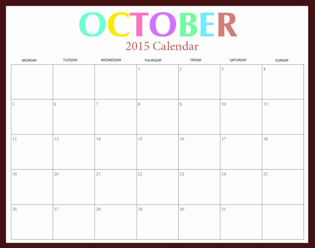 Calendar Of events Template 2015 Luxury October 2015 Calendar Word – 2017 Printable Calendar