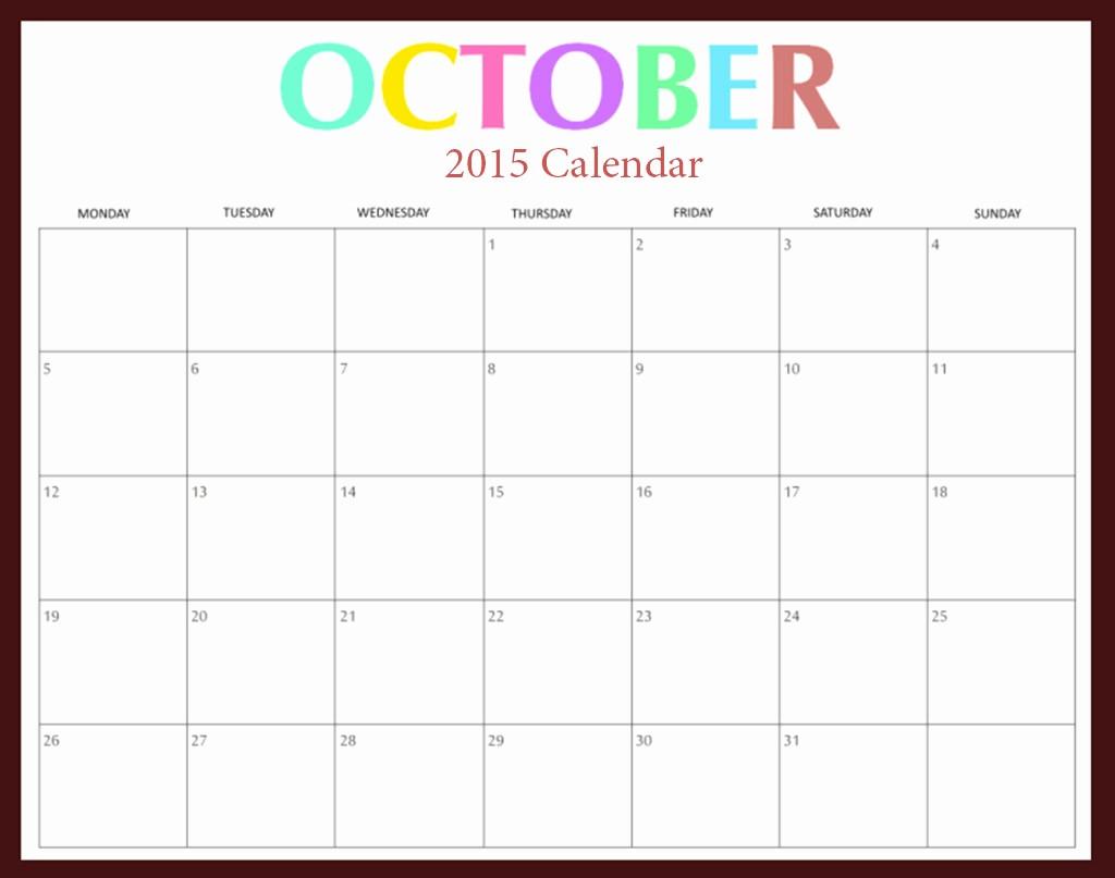 Calendar Of events Template 2015 Luxury October 2015 Calendar Word – 2017 Printable Calendar