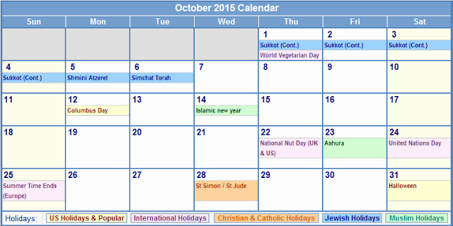 Calendar Of events Template 2015 New Calendar Templates October 2015 with Holidays – Usa Uk