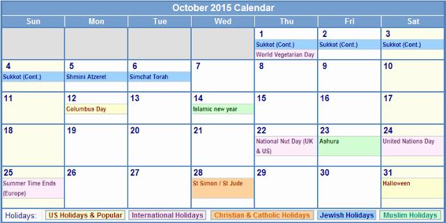 Calendar Of events Template 2015 New Calendar Templates October 2015 with Holidays – Usa Uk