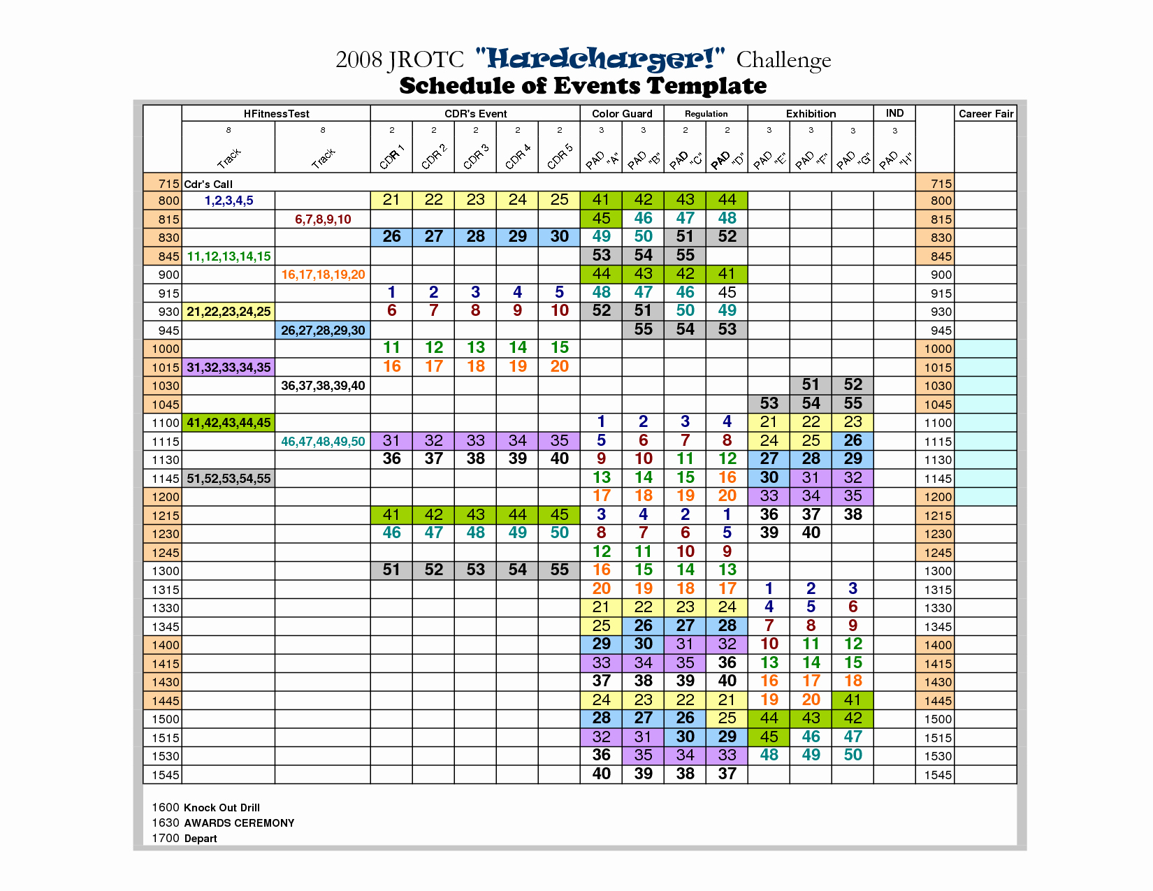 Calendar Of events Template 2015 New event Schedule Template
