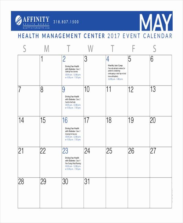 Calendar Of events Template Word Fresh event Calendar Templates 9 Free Word Pdf format