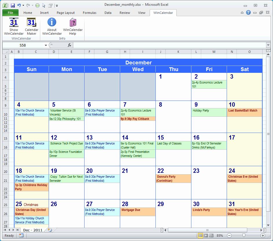 Calendar Of events Template Word Unique Excel Calendar Template
