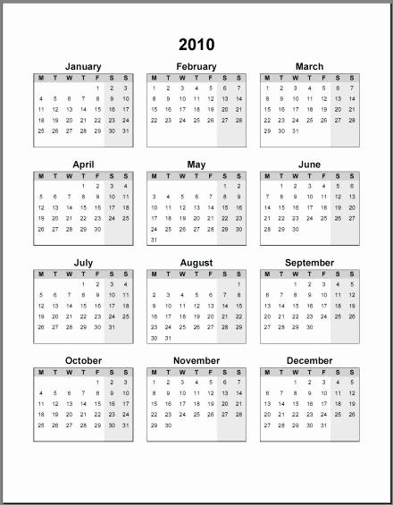Calendar On Microsoft Word 2010 Beautiful 10 Calendari Annuali 2018 In Pdf E Word Da Stampare