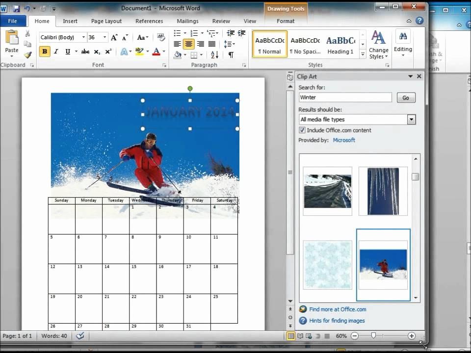 Calendar On Microsoft Word 2010 Beautiful How to Make A Calendar Using Microsoft Word 2010