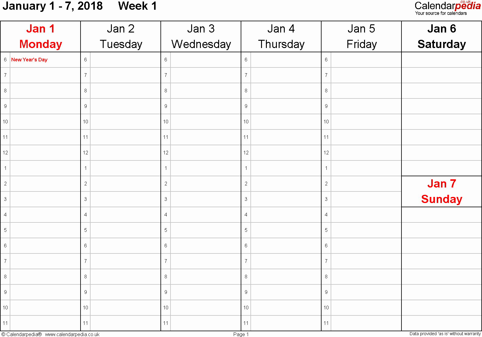 Calendar One Day Per Page Awesome Weekly Calendar 2018 Uk Free Printable Templates for Pdf