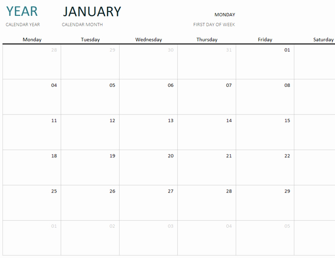 Calendar One Day Per Page Beautiful Any Year One Month Calendar