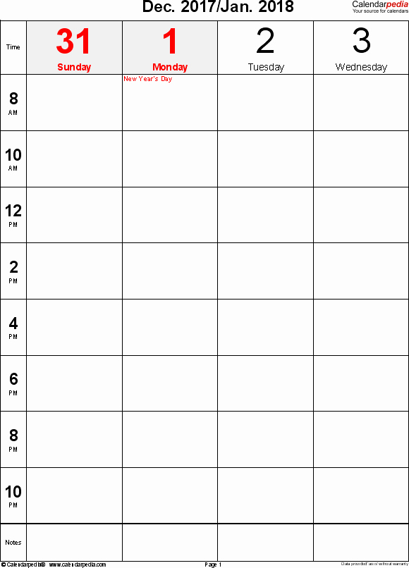Calendar One Day Per Page Best Of Weekly Calendar 2018 for Pdf 12 Free Printable Templates