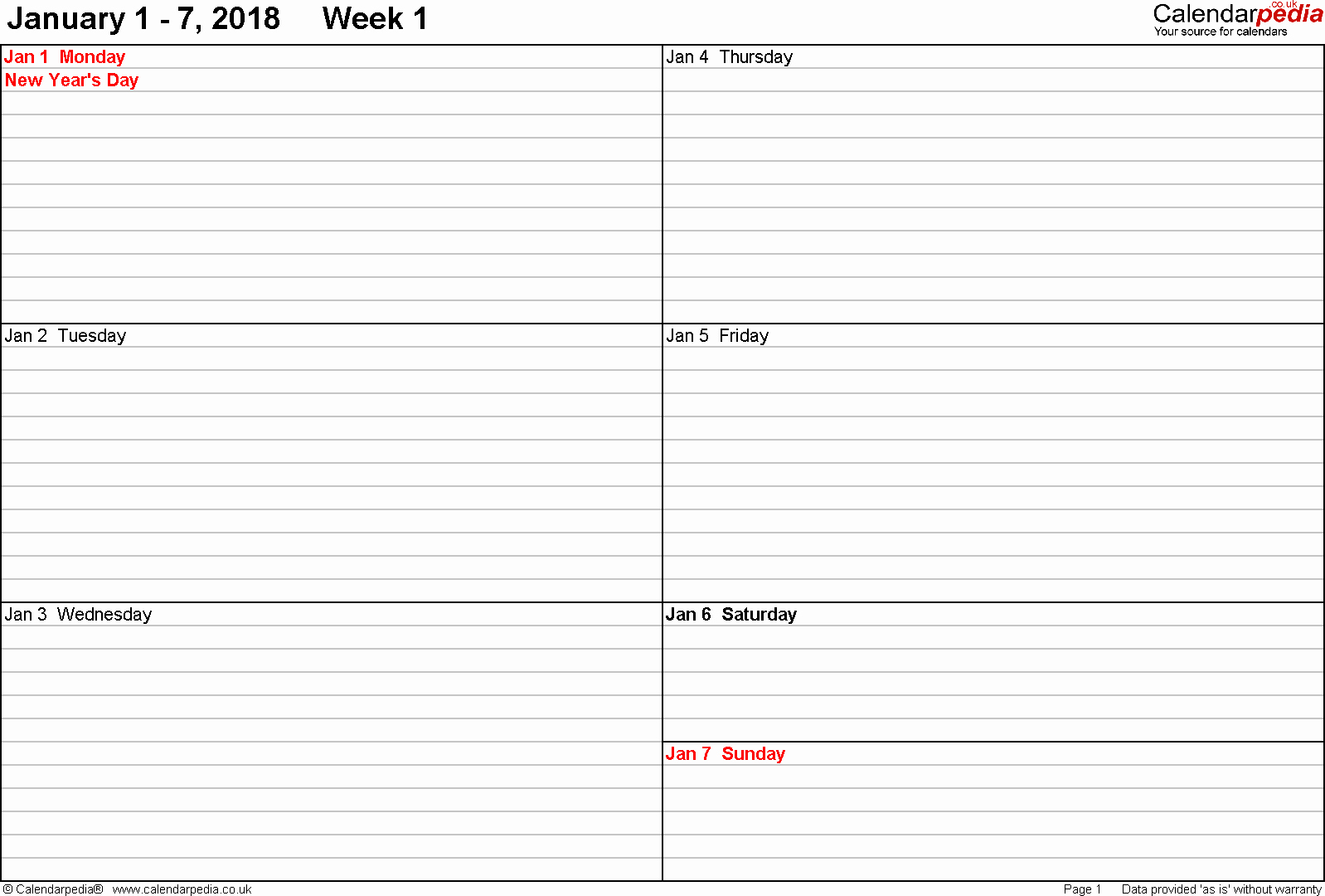 Calendar One Day Per Page Best Of Weekly Calendar 2018 Uk Free Printable Templates for Word