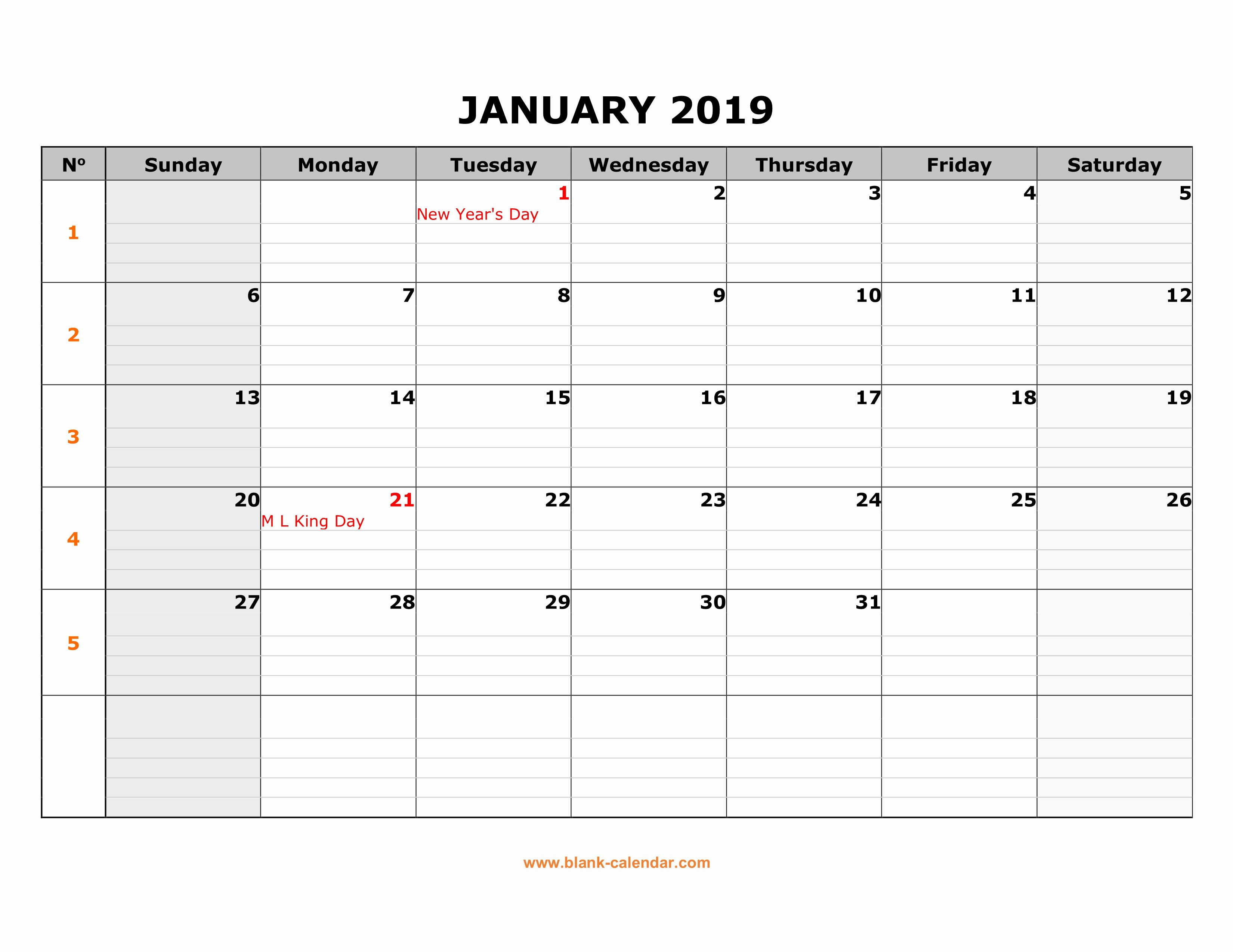 Calendar One Day Per Page Fresh Free Download Printable Calendar 2019 Large Box Grid