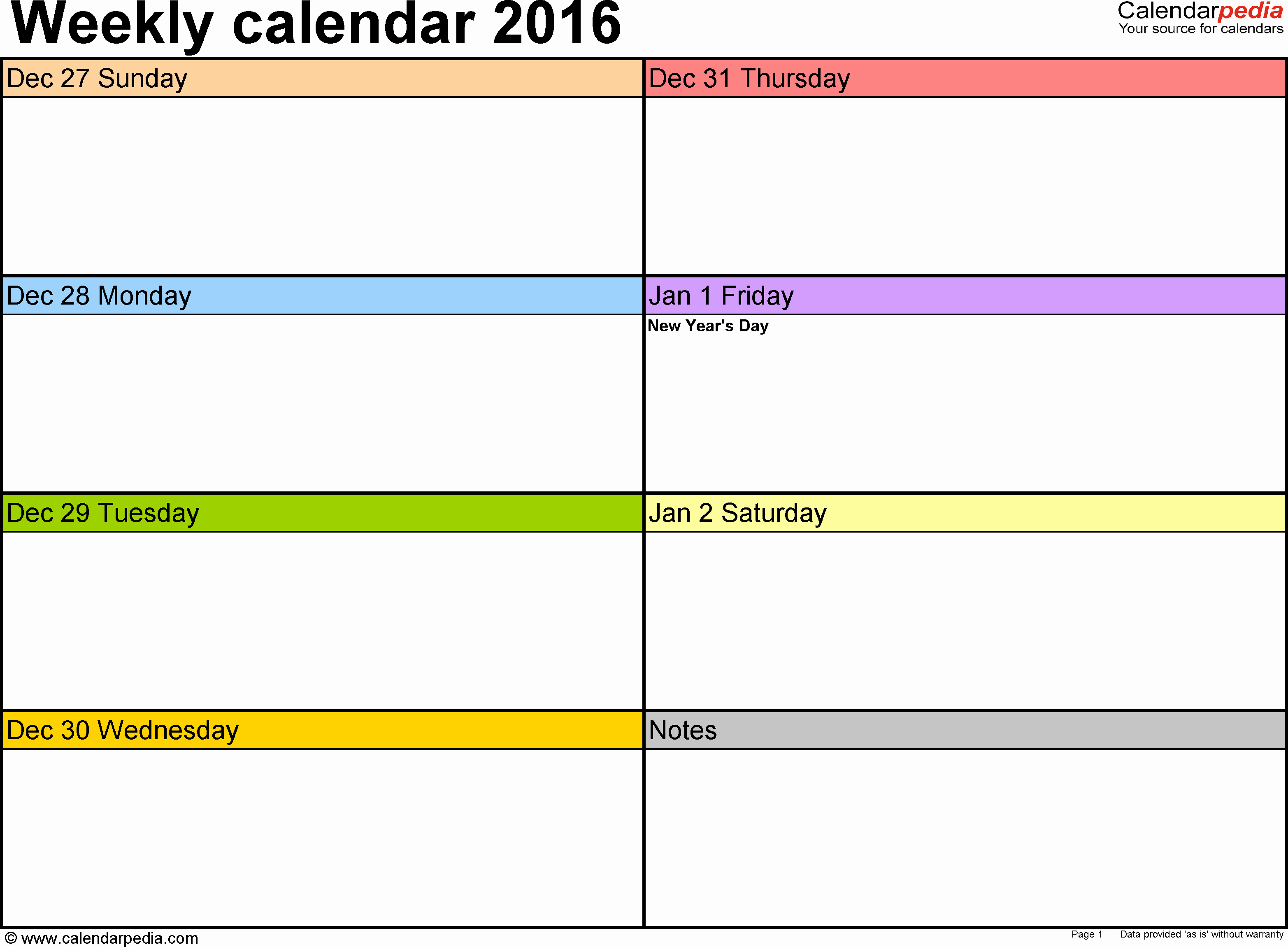 Calendar One Day Per Page Fresh Weekly Calendar 2016 for Excel 12 Free Printable Templates