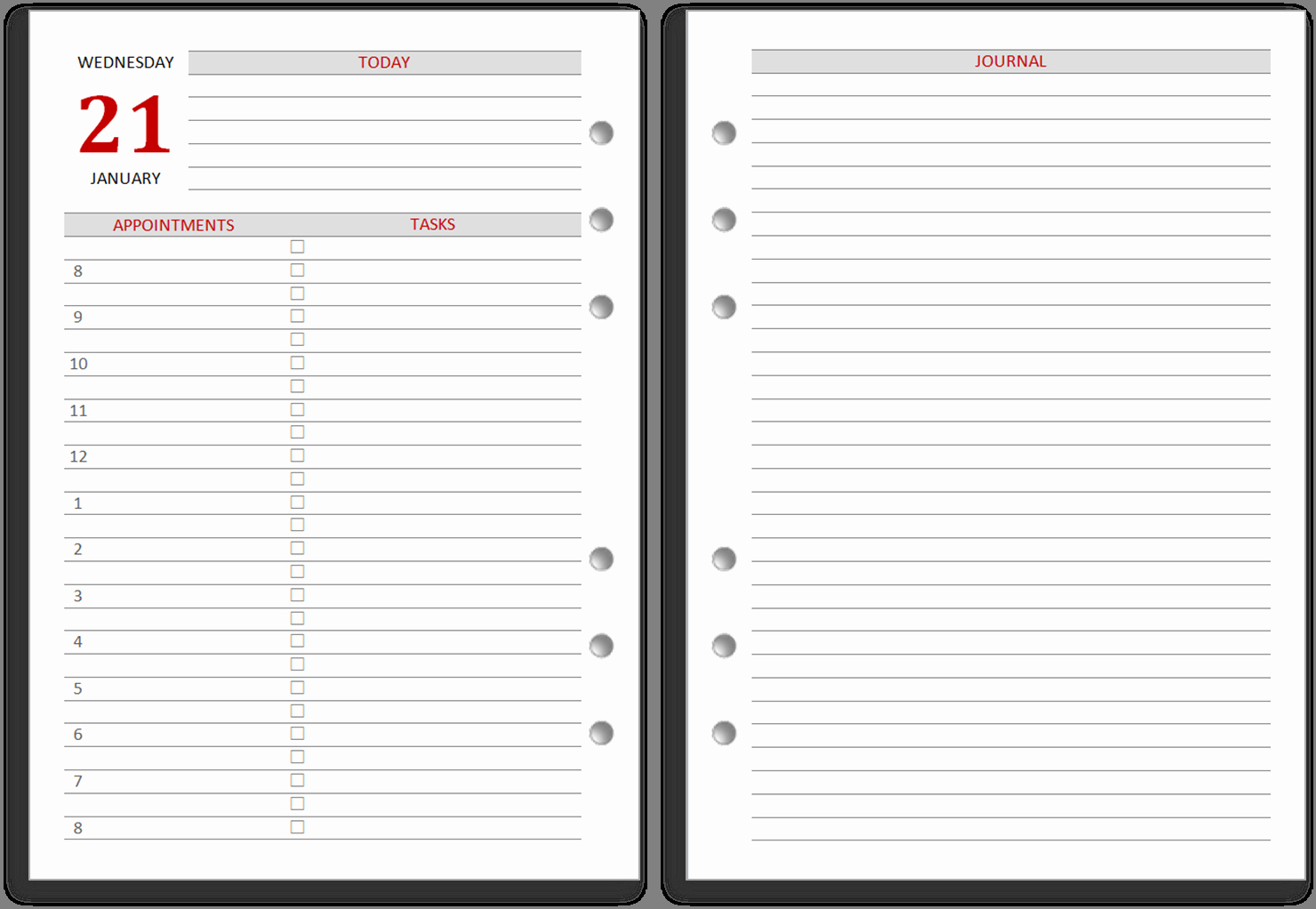 Calendar One Day Per Page Inspirational 9 Best Of 2016 Daily Journal Printable Pages Free