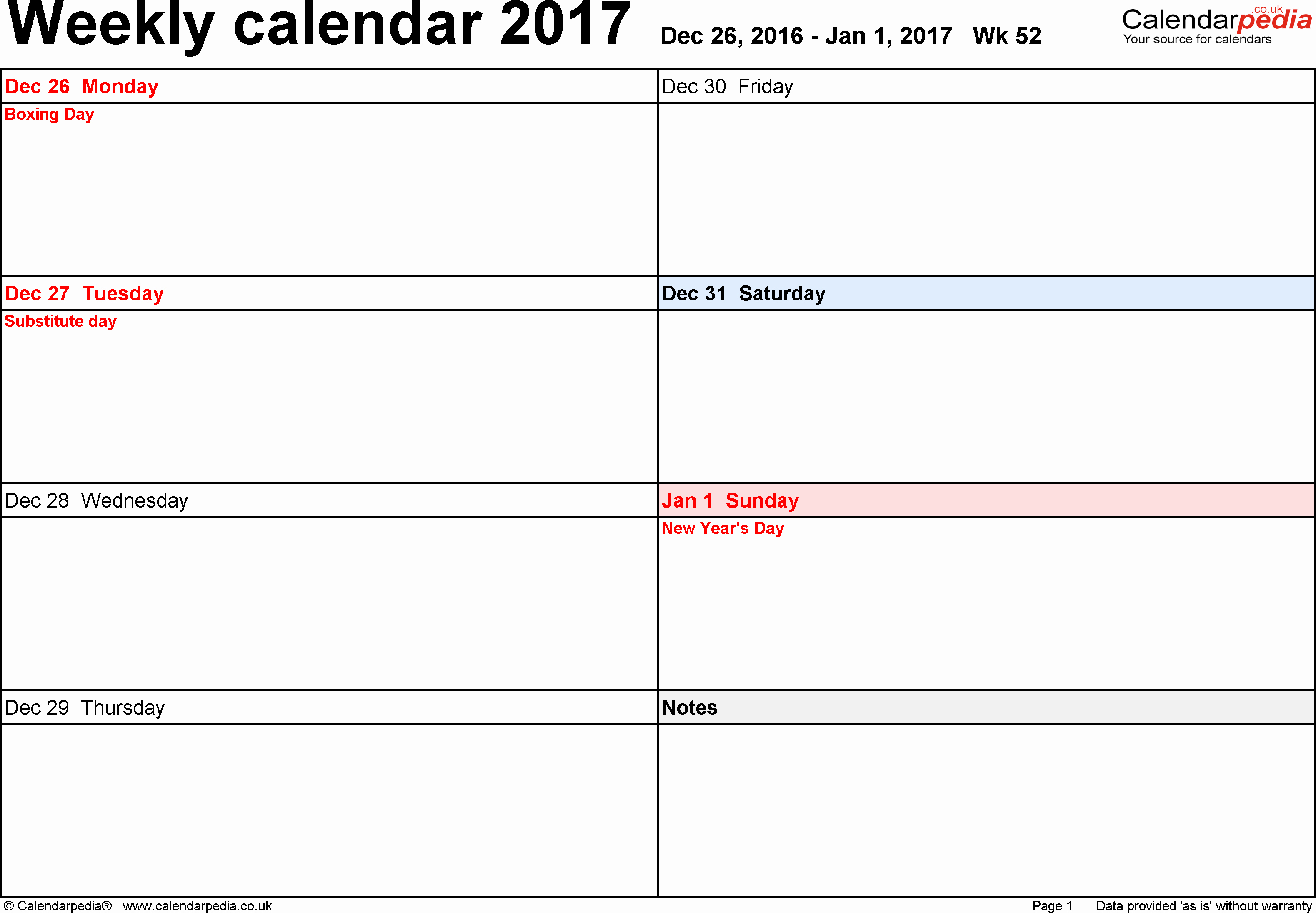 Calendar One Day Per Page Lovely Weekly Calendar 2017 Uk Free Printable Templates for Pdf