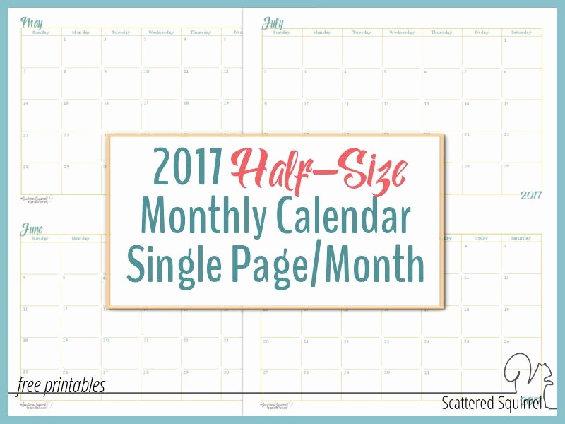 Calendar One Day Per Page New 2017 Half Size Monthly Calendar Printables