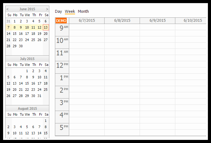 Calendar One Day Per Page New HTML5 Calendar with Day Week Month Views Javascript PHP