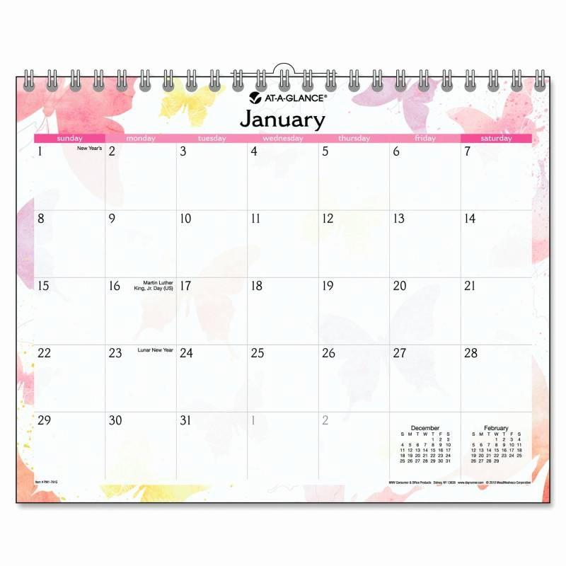 Calendar One Day Per Page Unique at A Glance Watercolors Design Wall Calendar E Page