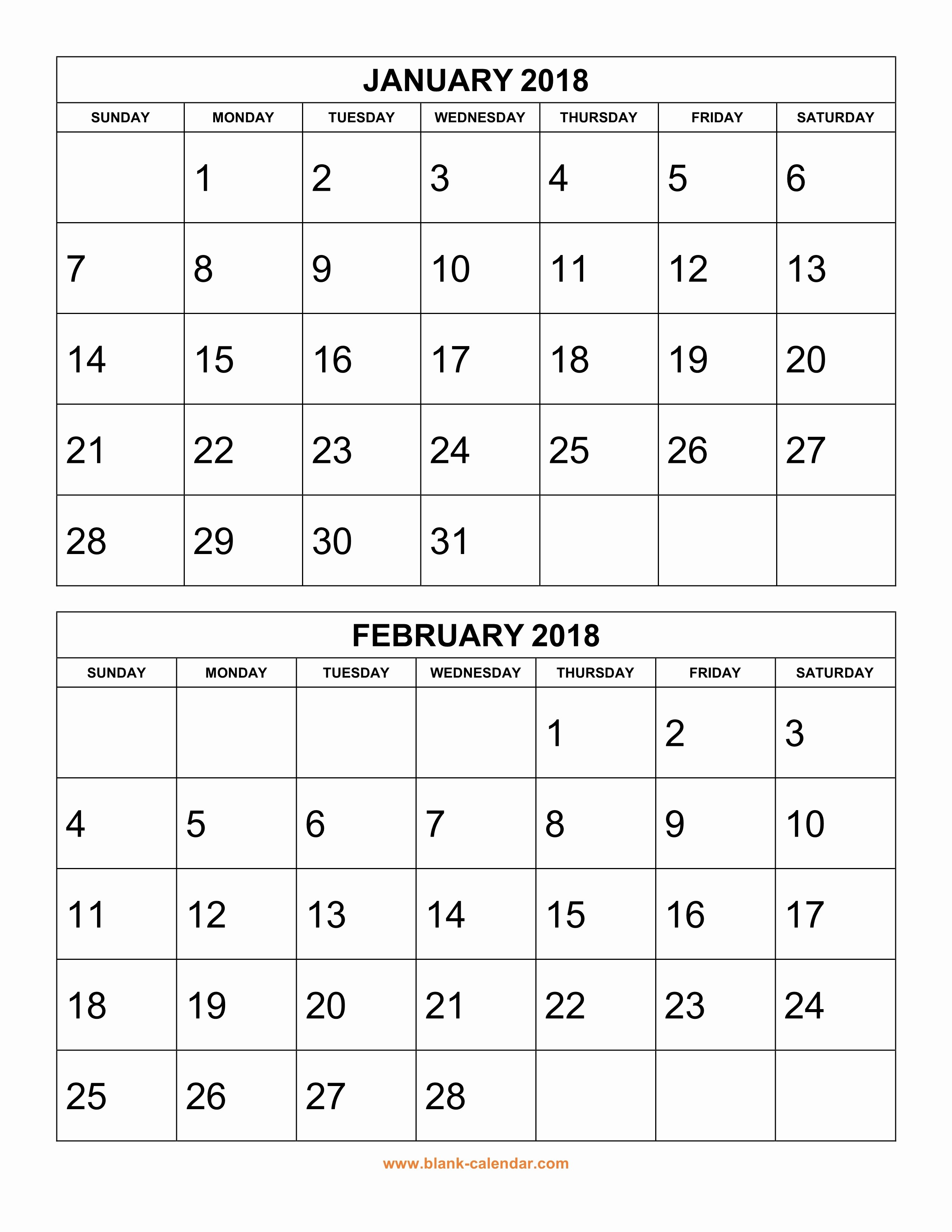 Calendar One Day Per Page Unique Free Printable Monthly Calendar 2 Months Per Page