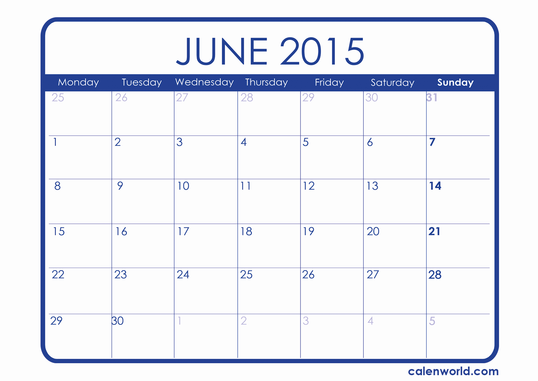 Calendar Template for June 2015 Awesome June 2015 Calendar