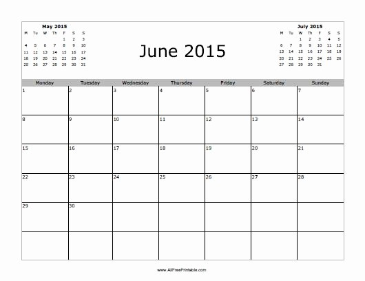 Calendar Template for June 2015 Beautiful June 2015 Calendar Free Printable Allfreeprintable