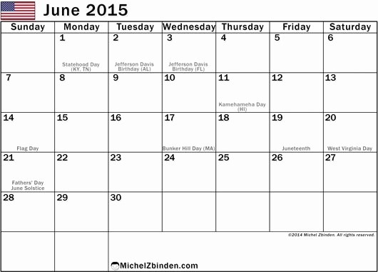 Calendar Template for June 2015 Best Of June 2015 Calendar with Holidays Gallery