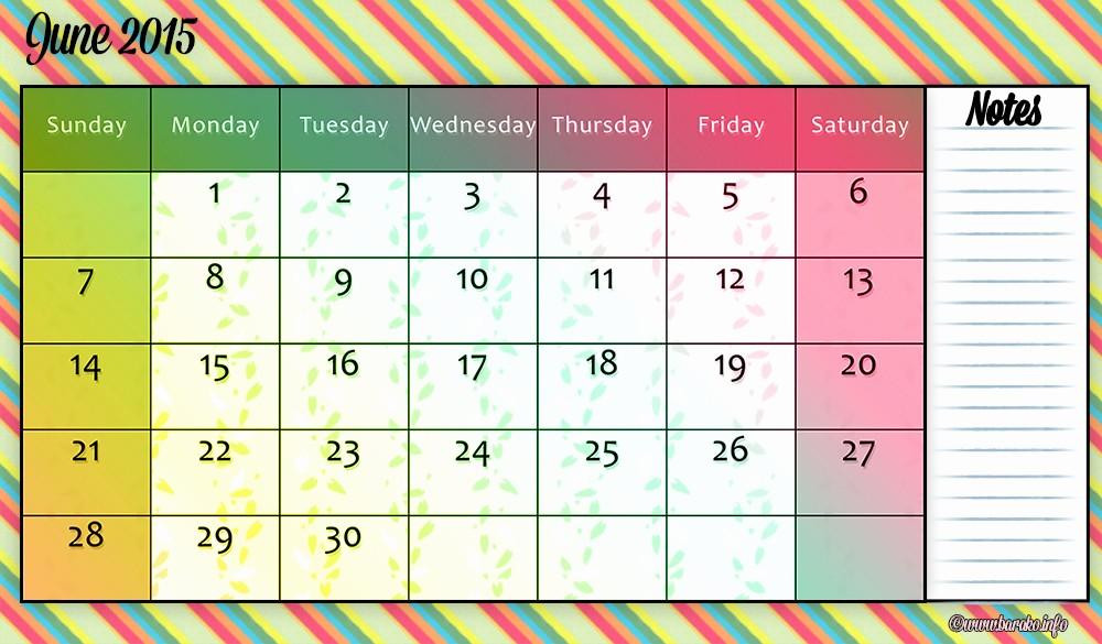 Calendar Template for June 2015 Elegant June 2015