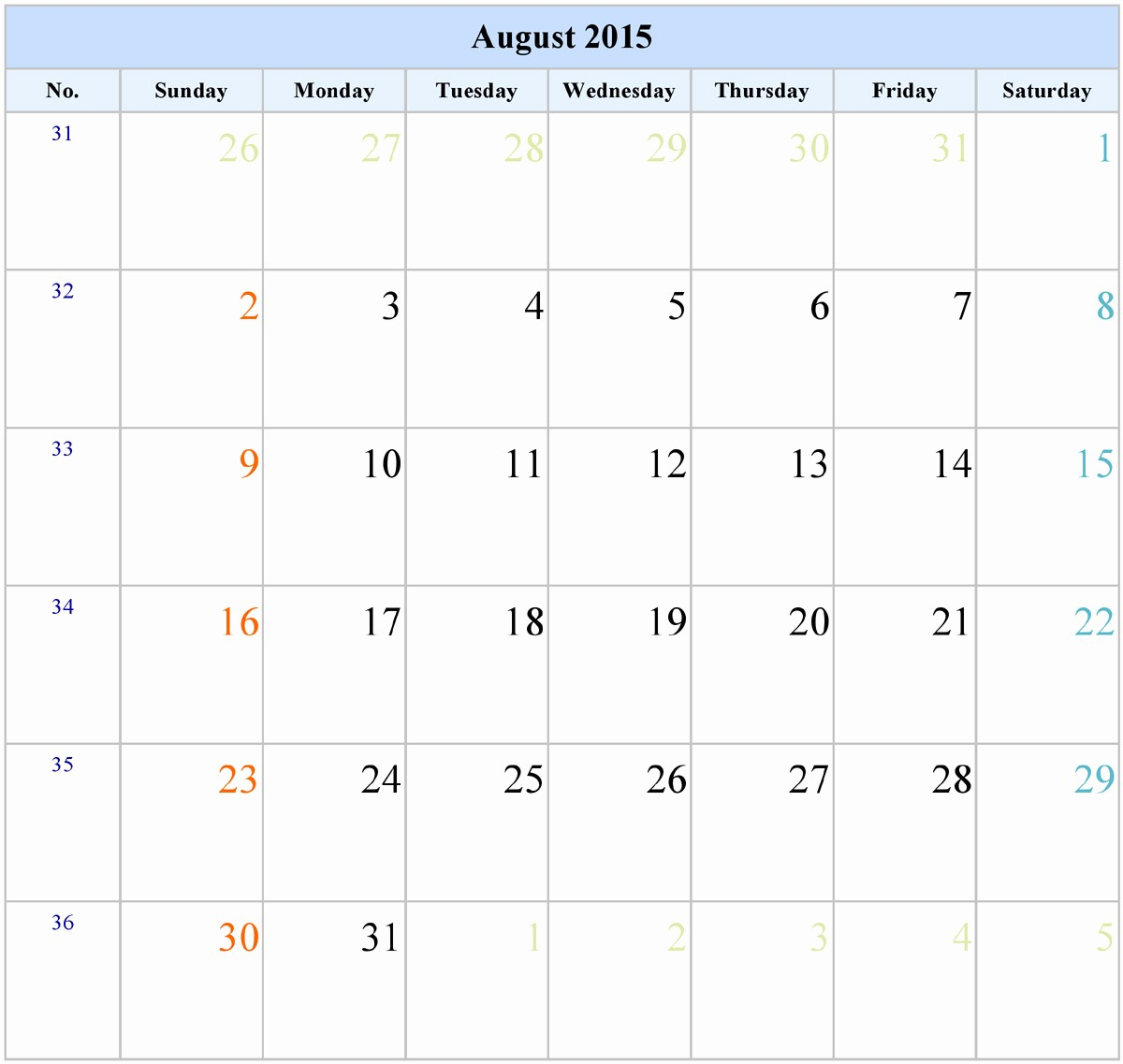 Calendar Template for June 2015 Fresh 8 Best Of Printable August 2015 Calendar Week